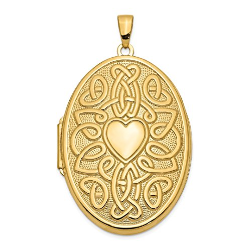 14k Yellow Gold Irish Claddagh Celtic Knot Heart 38mm Oval Photo Pendant Charm Locket Chain Necklace That Holds Pictures Fine Jewelry For Women Gift Set -