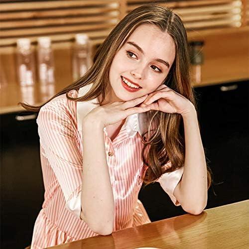 Lindas ropas de noche Spinning seda sexy dama camisón verano camisa de seda femenina sentido pijamas