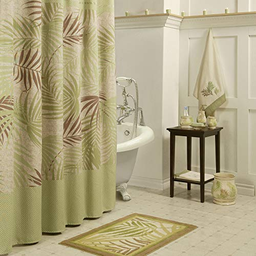 Palm Green Leaves Shower Curtain Waterproof Polyester Fabric Shower Curtain