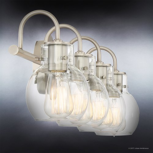 Luxury Vintage Bathroom Light, Large Size: 9''H x 30.5''W, with Industrial Style Elements, Floating Glass Design, Aged Nickel Finish and Clear Glass, Includes Edison Bulbs, UQL2042 by Urban Ambiance by Urban Ambiance (Image #3)