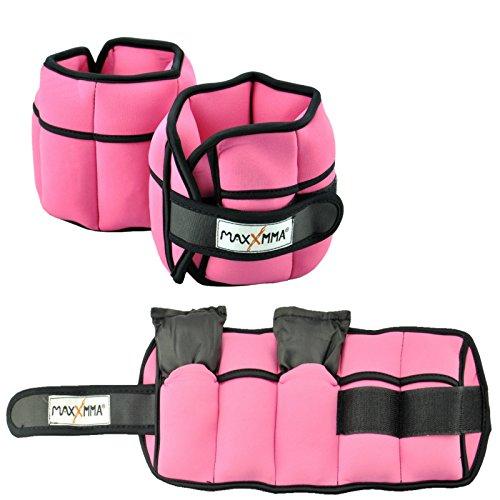 MaxxMMA 5 lbs Adjustable Neoprene Ankle Weights Pair, 2.5 lbs Each (Pink)