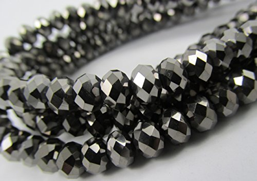 BeadsOne 55pcs Glass Rondelle Faceted Beads 8mm Black Black Nickel C36 Top Quality AAA