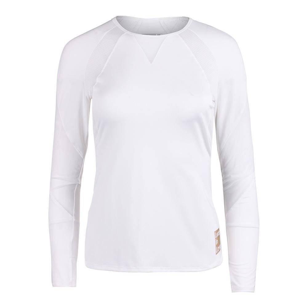 Lucky In Love Women`s Logo Athletic Long Sleeve Tennis Top-(655295851914)