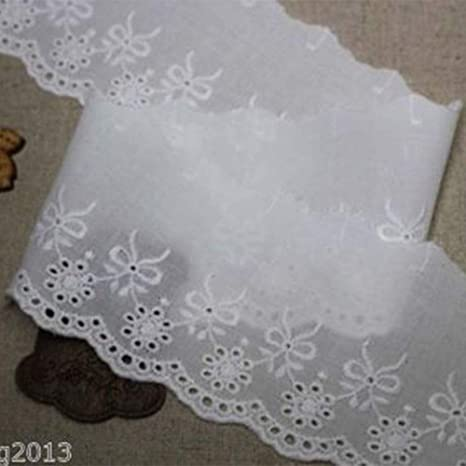 Black 1yard Broderie Anglaise gathered cotton eyelet lace trim 11cm YH1415a