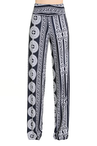 Palazzo Medallion (Uptown Apparel Womens Fold Over Waist Wide Leg Palazzo Pants, Good for Tall Curvy Women-Ships from U.S.A. (Large, Black/White Medallion))