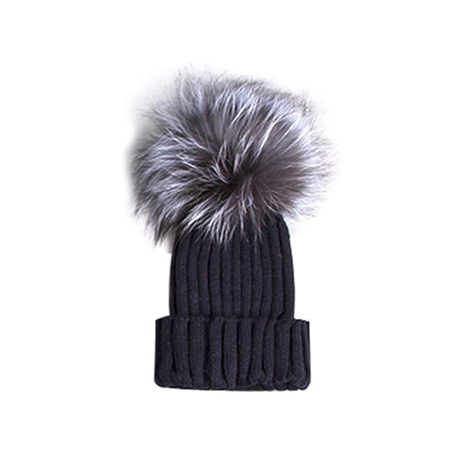 Tinksky Mujeres Sombreros de invierno Crotchet Knit Beanie Cap Hat Caliente  con Ball Top Navidad regalo 0a570fac947