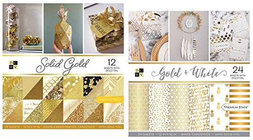 60 Sheets of 12x12 Inch Gold Cardstock Paper | Includes Metallic, Glitter, White, Shimmer Tones | Heavy Card Stock for Scrapbook, Origami, Cards, Invitations | Set of 2 Stacks by DCWV