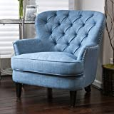 Cheap Great Deal Furniture Laxford | Button-Tufted Fabric Club Chair | in Light Blue