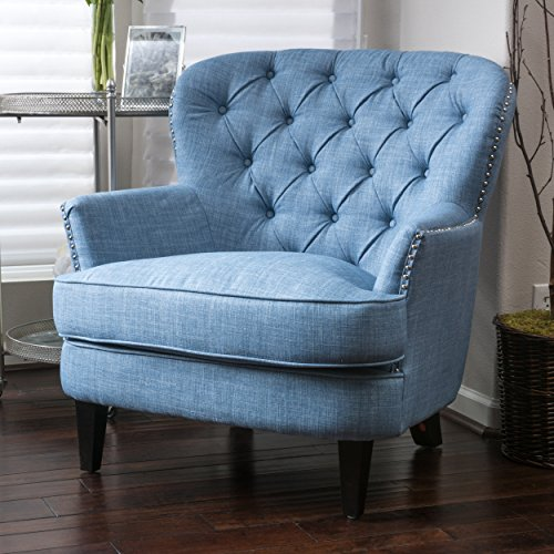 Great Deal Furniture Laxford | Button-Tufted Fabric Club Chair | in Light Blue (Loveseat Tufted Traditional Button)