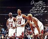 Dennis Rodman Signed 16x20 Photo w/ Michael Jordan & Scottie Pippen w/ 5 Inscriptions - Autographed NBA Photos