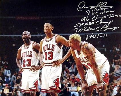 size 40 60369 ff78a Dennis Rodman Signed 16x20 Photo w/Michael Jordan & Scottie ...
