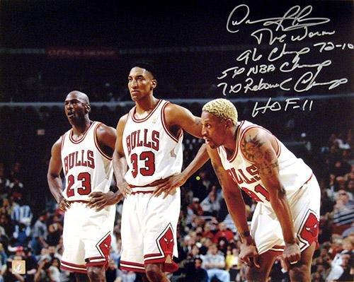 Dennis Rodman Signed 16x20 Photo w/Michael Jordan & Scottie Pippen w/ 5 Inscriptions - Autographed NBA Photos