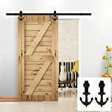 Hahaemall Antique Vintage 5-16FT Anchor Interior Sliding Barn Door Hardware Steel Roller Hanging Track Kit (5FT Single Door with Soft Close Kit)