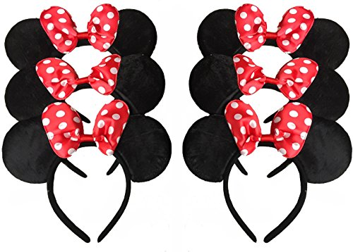 Adult Polka Dot (Build Your Own Family Pack Mickey Mouse Style Ears Kids Adults/Minnie Mouse Style Ears Headband Party for Boys Girls Parties (6 Red Polka Dot))