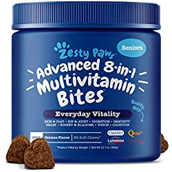 Zesty Paws Senior Advanced Multivitamin for Dogs - Glucosamine Chondroitin for Hip & Joint Arthritis Relief - Dog Vitamins & Fish Oil for Skin & Coat - Digestive Enzymes MSM + CoQ10-90 Chew Treats