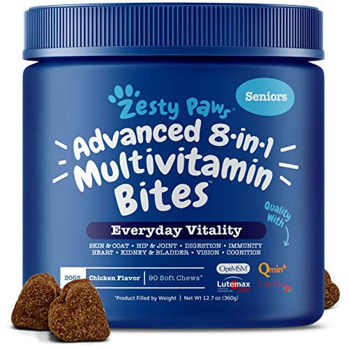 Zesty Paws Multivitamin for Dogs - Glucosamine Chondroitin for Hip & Joint Arthritis Relief - Dog Vitamins & Fish Oil for Skin & Coat - Curcumin, Digestive Enzymes, MSM + CoQ10-90 Chew Treats