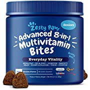 #LightningDeal Zesty Paws Senior Advanced Multivitamin for Dogs - Glucosamine Chondroitin for Hip & Joint Arthritis Relief - Dog Vitamins & Fish Oil for Skin & Coat - Curcumin, Digestive Enzymes, MSM + CoQ10