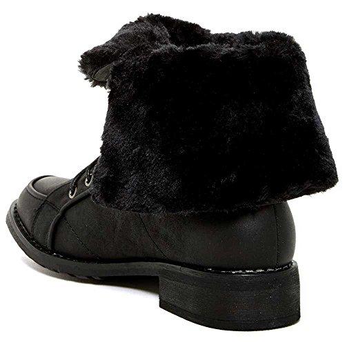 Moderne Opprører Kvinner Mote Kapcody Foldover Faux Fur Cuff Boots Black ...