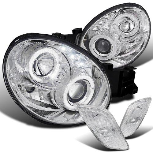 Subaru Impreza WRX Chrome Halo LED Projector Headlights+Clear Side Markers