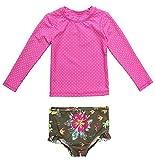 BeautyIn Baby Girls Long Sleeve Pink/White Dots Rashguard Bathing Suit 2 Piece Swimsuit Set 6M