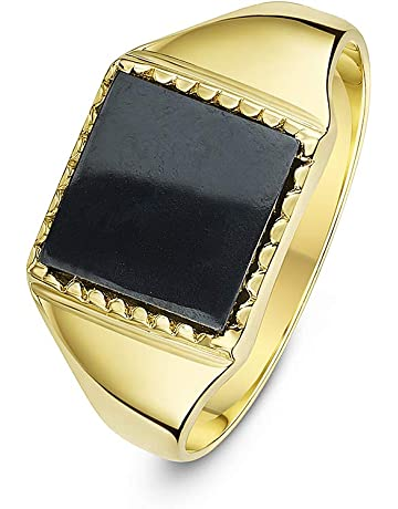 1ae10b2adf0a24 Theia Men's 9 ct Yellow Gold, Square Shape Signet Ring
