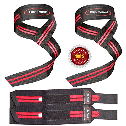 Lifting-Straps-Wrist-Wraps-Bundle-1-PAIR-of-Each-by-Rip-TonedBonus-Ebook-for-Weightlifting-Xfit-Workout-Gym-Powerlifting-Bodybuilding-Lifetime-Replacement-Warranty