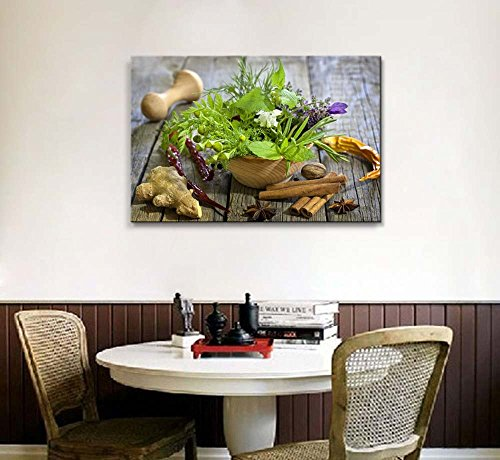 Still Life Closeup of Fresh Herbs and Spices on Vintage Wooden Boards Wall Decor