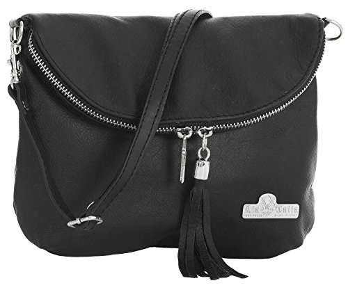 Soft Shoulder Size AMY Italian Cross Black Real LIATALIA Body Medium Small Bag Leather Messenger Z6fqFFgw