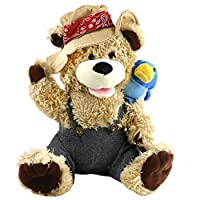 Houwsbaby Singing Teddy Bear Cowboy Stuffed Animal Electronic Interactive Toy with Plush Pal Friend Blue Bird on His Shoulder Halloween Christmas, 12 inches