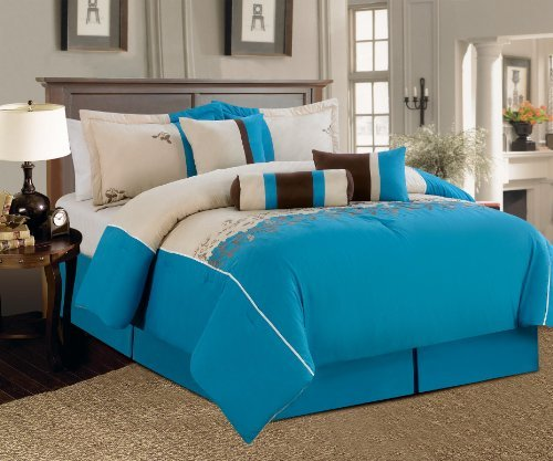 7 Pieces Luxury Embroidery Comforter Set (90\x92\) Bed-in-a-bag Luxury Queen Size Bedding (Blue) Ahf 5943503