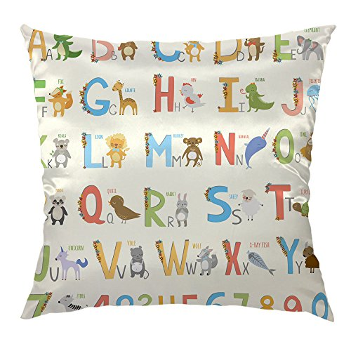 HGOD DESIGNS Alphabet Pillow Case,Cartoon ABC Funny Alphabet for Antique Satin Cushion Cover Square Standard Home Decorative for Men/Women 18x18 inch ()