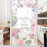 AmazingWall Window Film Non Adhesive Flower Pattern Frost Privacy Decorative Static Cling Home Office Decal Art Decor