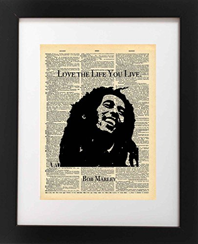 Bob Marley Art - Live the Life You Live Quote - Vintage Dictionary Print 8x10 inch Home Vintage Art Abstract Prints Wall Art for Home Decor Wall Decorations For Living - Frames Inspiration