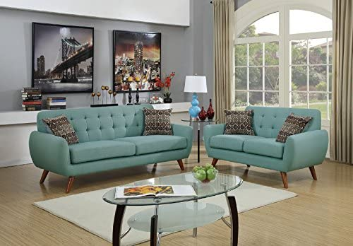 Major-Q Pxf6914 Modern Tufted Laguna Green Finish 2-Pcs Set with Love Seat and Sofa