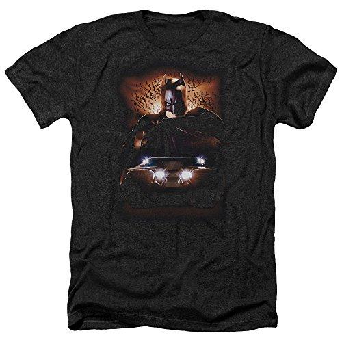 Trevco Men's Batman Begins Short Sleeve T-Shirt, Tumbler Heather Black, X-Large