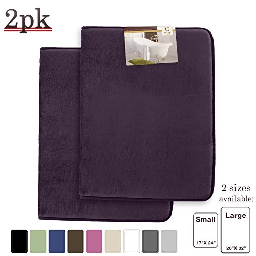 Clara Clark Memory Foam Bathrug 2 Pack Set – Eggplant - Bath Mat and Shower Rug Large 20