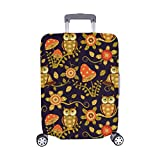 Flowers And Owls In Magic Forest Pattern Spandex Trolley Case Travel Luggage Protector Suitcase Cover 28.5 X 20.5 Inch