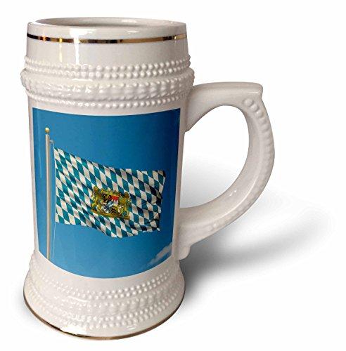 3dRose Carsten Reisinger Illustrations - Flag of Bavaria on a flag pole with blue sky Bavarian - 22oz Stein Mug ()