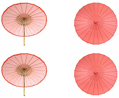 Koyal Wholesale 32-Inch Paper Parasol, 4-Pack Umbrella for Wedding, Bridesmaids, Party Favors, Summer Sun Shade (4, Coral)