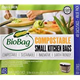 BioBag Small Compostable and Biodegradable Kitchen Bags for Food Scraps, 10 Litre, 48 Count