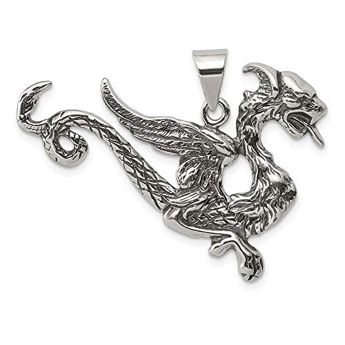 (925 Sterling Silver Dragon Pendant Charm Necklace Skull Dagger Man Fine Jewelry Gift For Dad Mens For Him)