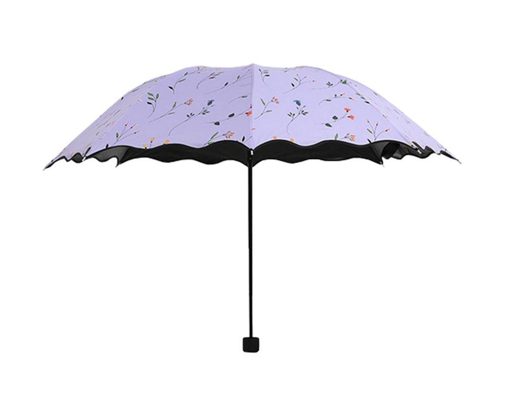 Dosige Parapluie de Soleil Pour Femme Petit Floral Pliante Parapluie Soleil/Pluie Anti-Rayonnement Ultraviolet Umbrella Parapluie de Voyage (Violet)