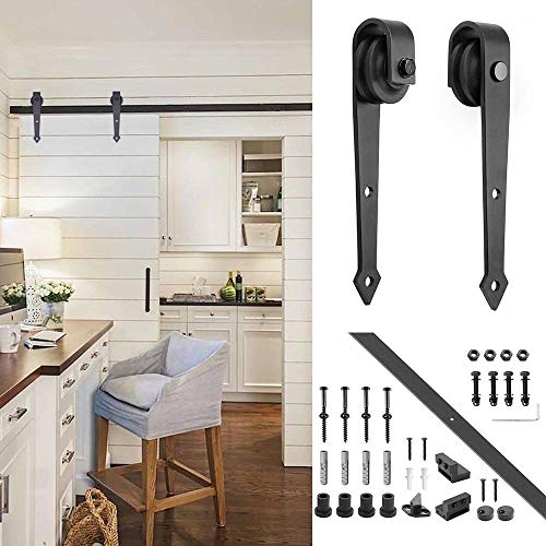 rdy Sliding Barn Wood Door Basic Track Hardware Kit w/Super Smoothly and Quietly | Simple and Easy to Install | (1 Set Arrow Style Track Hardware) ()