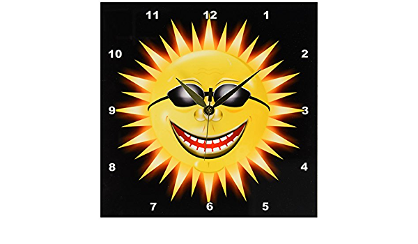 Amazon Com 3drose Dpp 18159 1 Smiling Sunshine A Happy Sunny Face Wearing Sunglasses With A Smile Wall Clock 10 By 10 Inch Home Kitchen
