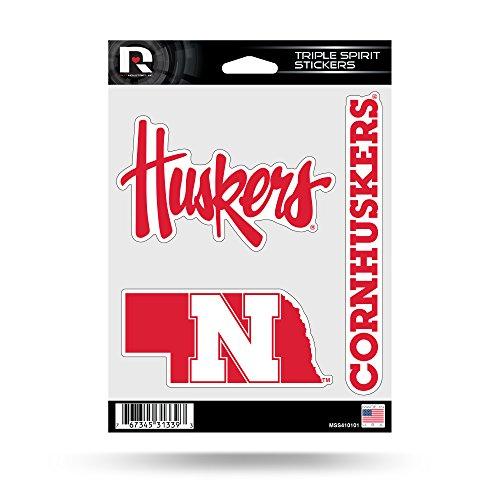 Rico Industries NCAA Nebraska Cornhuskers Die Cut 3-Piece Triple Spirit Sticker Sheet