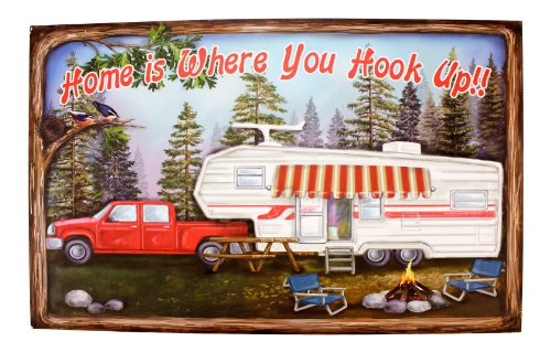 Home is Where You Hook Up Printed Wood Sign 19 Inch RV Camper Wall Plaque Decor