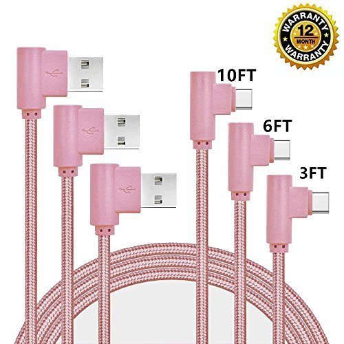 USB Type C Cable, CTREEY 90 Degree 3 Pack 3ft 6ft 10ft Nylon Braided Long Cord USB Type A to C Charger for Macbook, LG G6 V20 G5,Google Pixel, Nexus 6P, Nintendo Switch, Samsung Galaxy S8+ (Rose Gold)