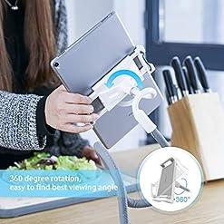 Lamicall Gooseneck Tablet Holder, Universal Tablet Stand – 360 Flexible Lazy Arm Holder Clamp Mount Bracket Bed for 4.7…