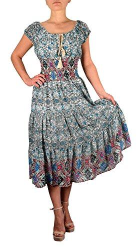 [Peach Couture Gypsy Boho Cap Sleeves Smocked Waist Tiered Renaissance Maxi Dress Floral Blue Grey,] (Renaissance Style Dress)
