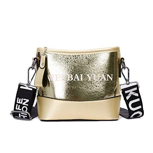CJshop Nuevo estilo minimalista de barril de agua de ruptura de bolsa, la versión coreana de moda femenina, amplia bandolera, único bolso de hombro, bolsa oblicuos,Golden Golden